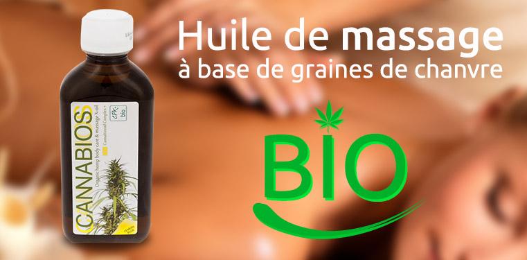 huile de massage à base de graines de cannabis